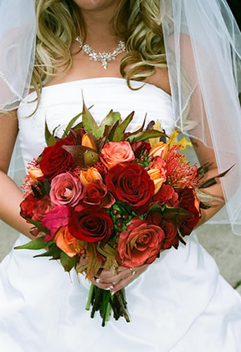 A colorful wedding bouquet