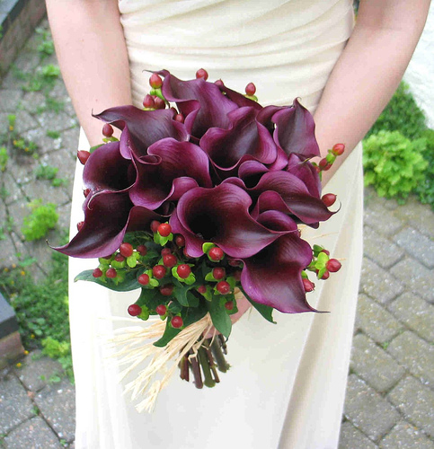 Wedding bouquet with lilies