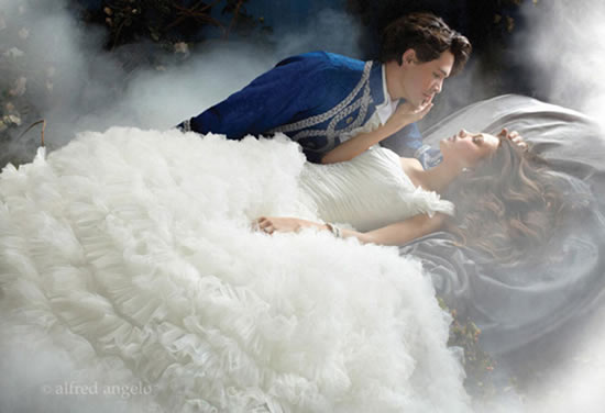 Awake To Your Own Fairytale In This Sleeping Beauty Inspired Wedding Dress That Covered Taffeta And Numerous Layers Of Tulle Emulates A Cascade Rose